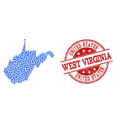 Collage map of west virginia state with connected vector
