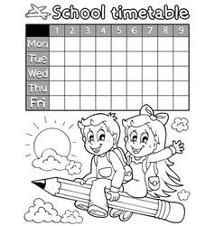 Coloring book school timetable 3 vector