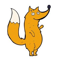 Comic cartoon waving fox vector