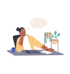creative person thinking and dreaming at work vector image