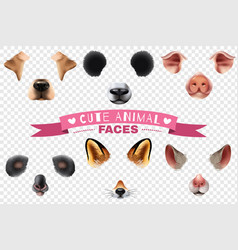 Cute animal faces transparent icon set vector