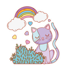 cute cat with rainbow clouds and bush vector image