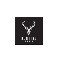 Deer stag buck reindeer antler head hunt logo vector