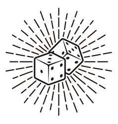 dice with rays monochrome vector image