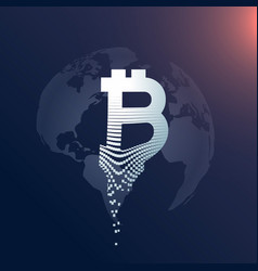 digital bitcoin creative symbol design with world vector image