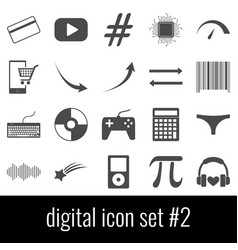 digital icon set 2 gray icons on white vector image