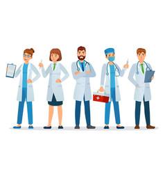 doctors team healthcare workers medical hospital vector image