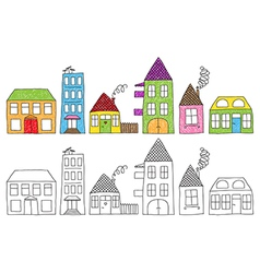 Doodle houses vector image vector image