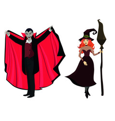 Dracula and witch halloween characters isola vector