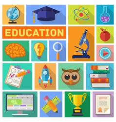 Education Flat Icon Set vector