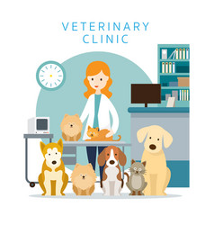 female veterinarian with pets vector image