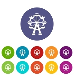 Ferris wheel set icons vector image