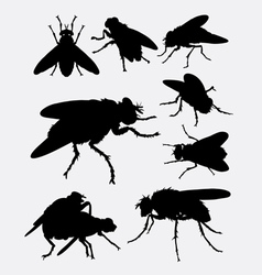 Flies insect animal silhouette vector