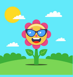 Flower sunbathes in a clearing a joyful plant in vector