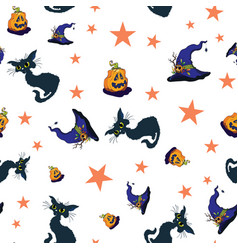 fun halloween cats and pumpkins repeat pattern vector image