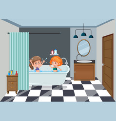 Girls bathing on the bathroom vector