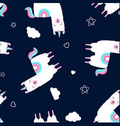 hand drawing print design llama seamless pattern vector image