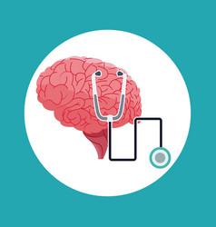 Human brain stethoscope medical symbol vector