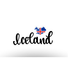 Iceland country big text with flag inside map vector
