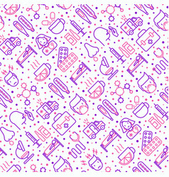 Influenza seamless pattern with thin line icons vector