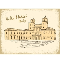 Italian landmark Villa Medici isolated ink sketch vector image