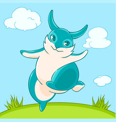 Joyful fun blue bunny jumps across the lawn vector