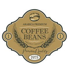 Label for coffee beans with wheat ears vector