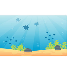 Landscape underwater with fish and coral reef vector