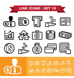Line icons set 18 vector image