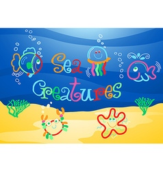 Little sea creatures under the sea vector image