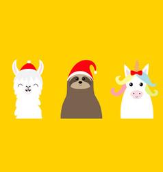 llama alpaca sloth face set in red santa hat vector image