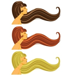 Long brown blond and red hair vector image