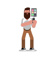 Man designer searching for references on phone vector