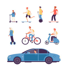 man drive guys on scooter and bike gyro scooter vector image