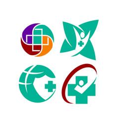 Medical health clinic cross logo template set vector
