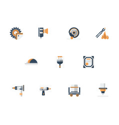 metal processing equipment flat icons set vector image