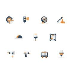 Metal processing equipment flat icons set vector