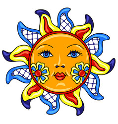 Mexican sun with ornamental flowers vector