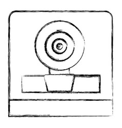 monochrome sketch of webcam in square frame vector image
