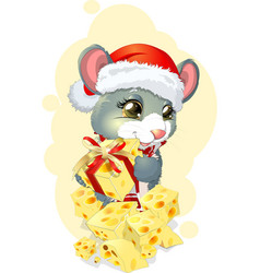 mouse and gift vector image