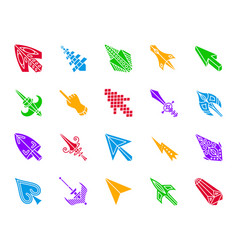 Mouse cursor color silhouette icons set vector