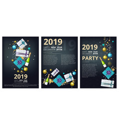 New year party brochure holiday christmas 2019 vector