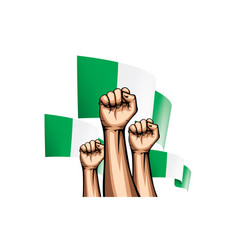 Nigeria flag and hand on white background vector