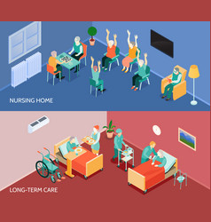 nursing home isometric horizontal banners vector image