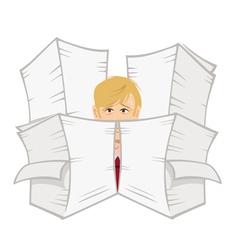 Office guy paperwork vector