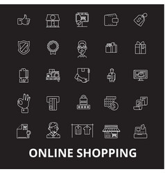 online shopping editable line icons set on vector image