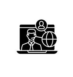 online teamwork black icon sign on vector image