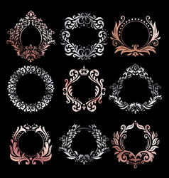 Ornate frames silver ornamental frame rose gold vector