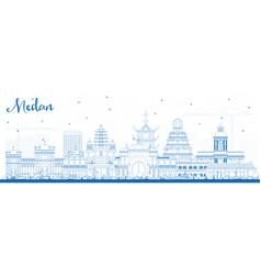 Outline medan indonesia city skyline with blue vector