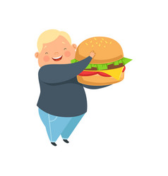 Overweight boy with a huge burger cute chubby vector